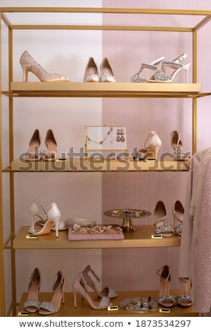 Elegant female stiletto shoes with rhinestones Stock photo © gsermek