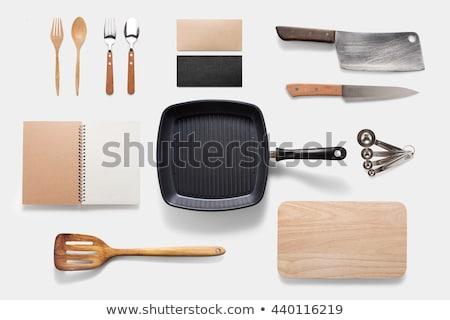 wok · izolált · fehér · konyha · étterem · fekete - stock fotó © karammiri