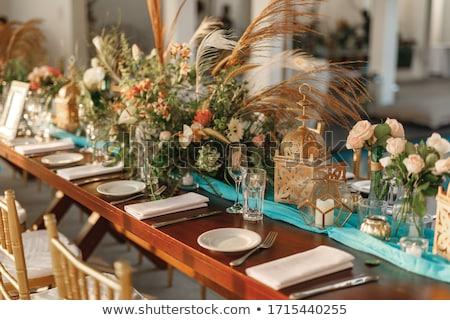 церемония · столовое · серебро · украшение · элегантный · таблице · цветок - Сток-фото © alessandrozocc