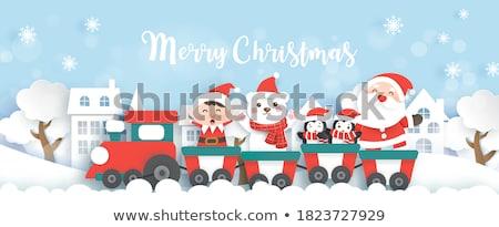 Trem ilustração natal papai noel veado Foto stock © Volina