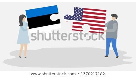 EUA Estônia bandeiras quebra-cabeça vetor imagem Foto stock © Istanbul2009