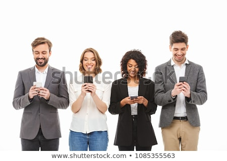 businessman on the phone over a white background Stock photo © hsfelix