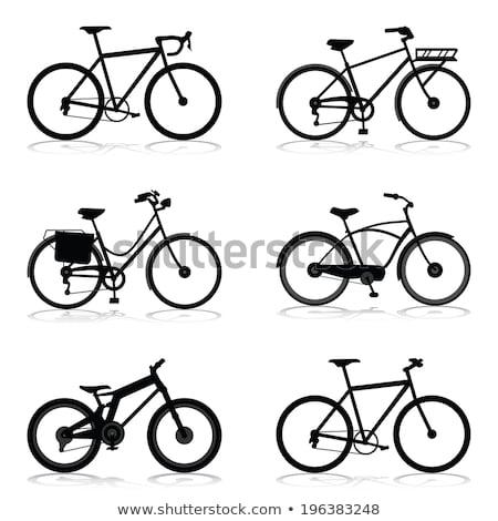 Zwarte silhouet fiets geïsoleerd illustratie vector Stockfoto © orensila