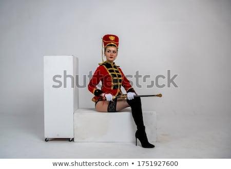 Mulher militar roupa isolado branco fundo Foto stock © Elnur