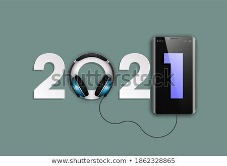 Oyuncu kulaklık siyah müzik Çalar beyaz ses Stok fotoğraf © bendzhik