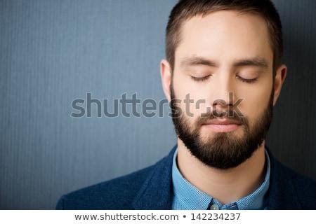 Portré üzletember csukott szemmel izolált fehér üzlet Stock fotó © deandrobot