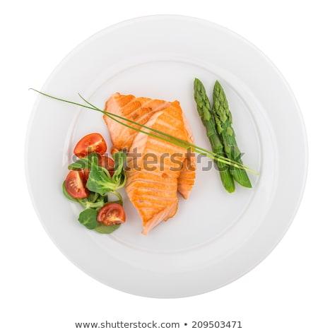 лосося · овощей · изолированный · белый · рыбы · еды - Сток-фото © fanfo