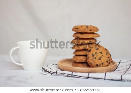 Chocolat table en bois pièces bois table noir Photo stock © Madrolly