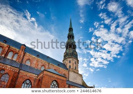 zwart · wit · kerk · toren · beneden · stormachtig - stockfoto © amok