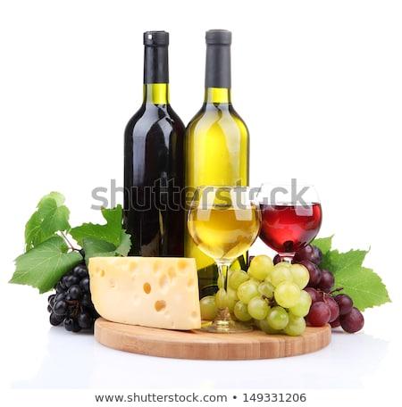 Szemüveg bor sajt érett szőlő izolált Stock fotó © tetkoren