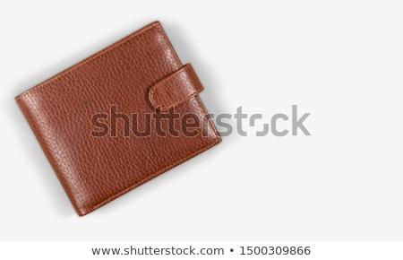barna · pénztárca · bankjegyek · halom · izolált · fehér - stock fotó © smuki