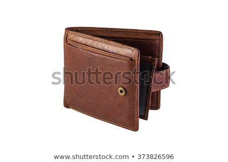 Izolált barna pénztárca fehér pénz bőr Stock fotó © shutswis