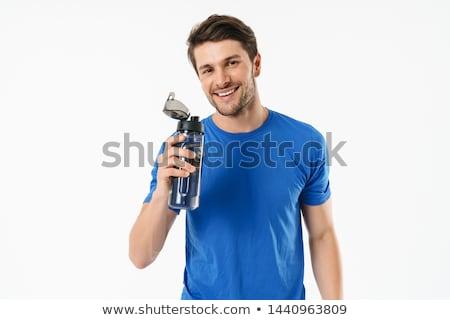 homme · haltères · heureux · sport · fitness - photo stock © elnur