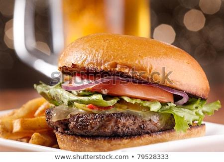 ハンバーガー ビール フライドポテト 準備 食品 チーズ ストックフォト © phila54