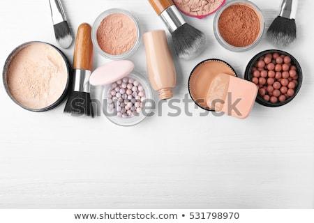 makyaj · ürünleri · çerçeve · pembe · kadın · yüz - stok fotoğraf © vlad_star