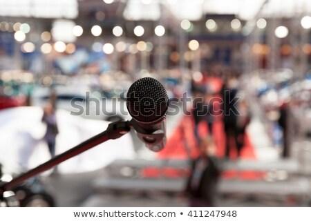 Mikrofon odak bulanık izleyici veri medya Stok fotoğraf © wellphoto