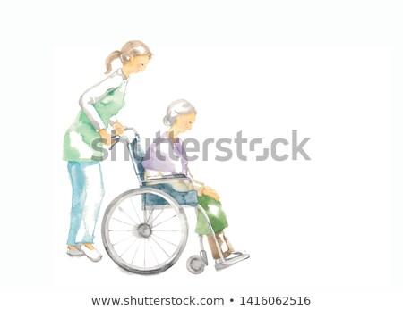 Mãos senior desenhar roda cadeira ilustração Foto stock © lenm