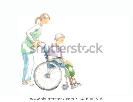 Hands Senior Draw Wheel Chair Stock photo © lenm