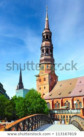 塔 教会 ハンブルク 建物 通り 橋 ストックフォト © meinzahn