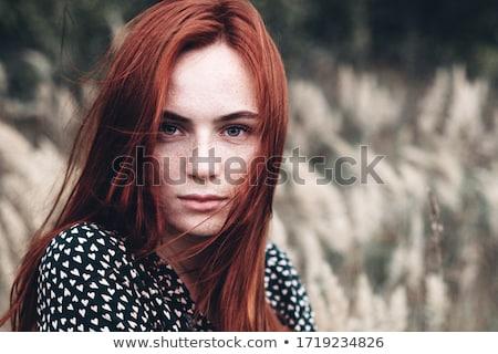 Szeplők nő portré vonzó hideg nő tart Stock fotó © Aikon