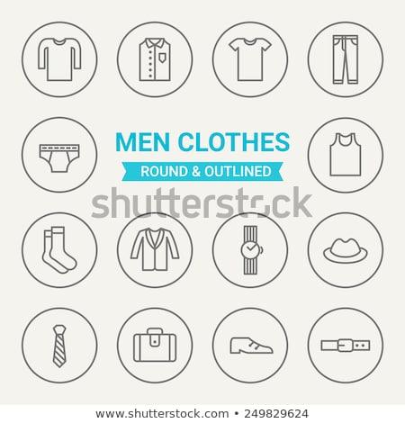 иконки брюки иллюстрация белый фон красный Сток-фото © bluering