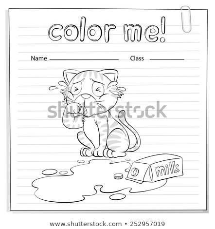 Coloring worksheet with a crying cat Stock photo © bluering