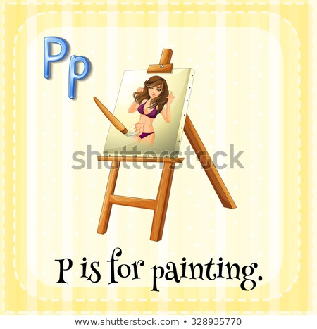 Flashcard alphabet P is for paintbrush Stock photo © bluering