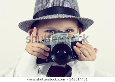 Mały chłopca retro kamery przystojny Zdjęcia stock © svetography