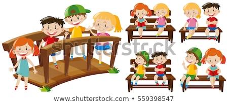 Sok gyerekek híd illusztráció térkép gyermek Stock fotó © bluering