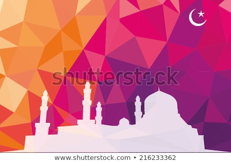 Colorful mosaic design - mosque white silhouette, red color Stock photo © kkunz2010