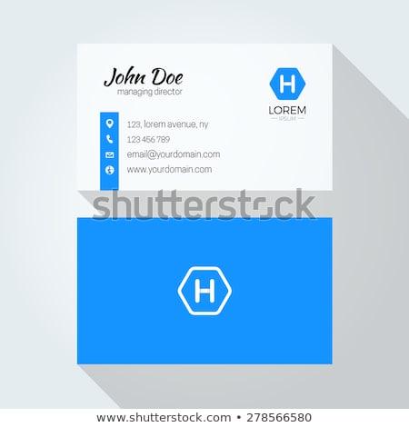 Elegante limpar azul cartão de visita projeto mínimo Foto stock © SArts