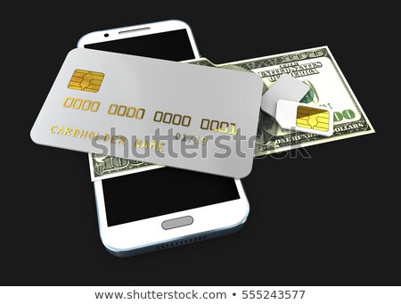 3d illustration of detailed black locked credit card on the phone with simcard isolated white backgr Stock photo © tussik