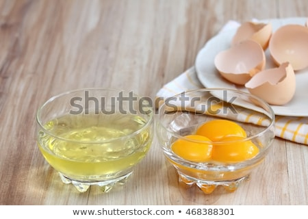 raw egg white and yolk in bowl stock photo © digifoodstock