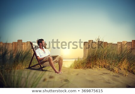 laptop on the grass with the bright sky stock photo © rufous