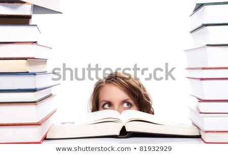 diákok · olvas · tankönyvek · könyvtár · vektor · férfiak - stock fotó © rastudio