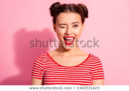 Gorgeous alluring young woman with red lips Stock photo © deandrobot