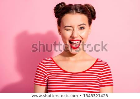 Foto stock: Sedutor · mulher · jovem · lábios · vermelhos · em · pé · posando
