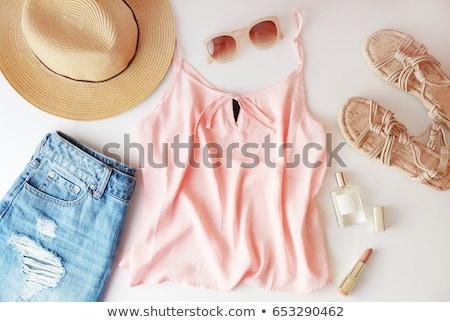 девушки одежды розовый Hat юбка иллюстрация Сток-фото © bluering
