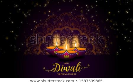 Stock photo: beautiful diwali celebration greeting with mandala decoration