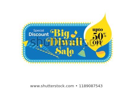 diwali festival sale poster design with diya and fireworks stock photo © sarts