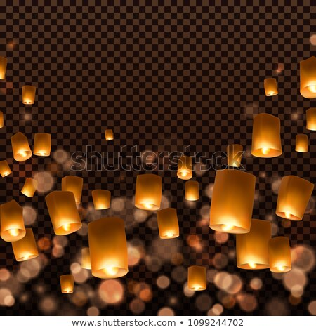 chinese sky flying floating lanterns Stock photo © TRIKONA