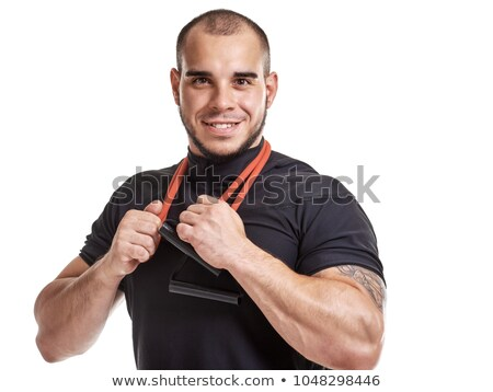 Portret kaal bodybuilder zwarte fitness Stockfoto © wavebreak_media