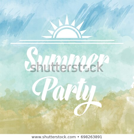 Summer party poster om watercolor background Stock photo © balasoiu