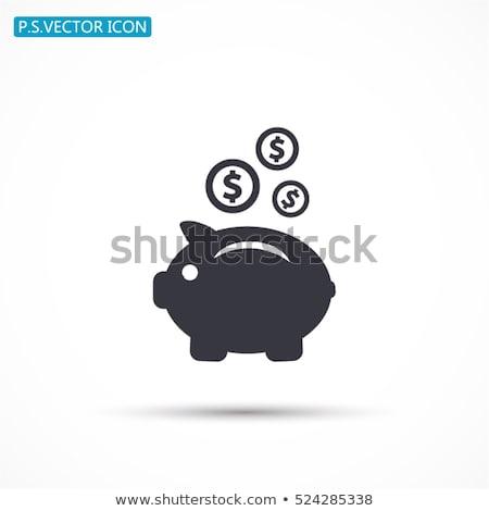 piggy · bank · queda · dinheiro · porco · vetor · ícone - foto stock © olena