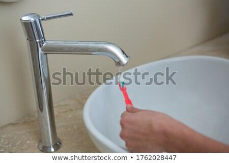 nő · házimunka · takarítás · fürdőszoba · otthon · mosdókagyló - stock fotó © wavebreak_media
