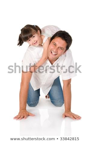 apa · baba · fiú · játszik · együtt · izolált - stock fotó © zurijeta