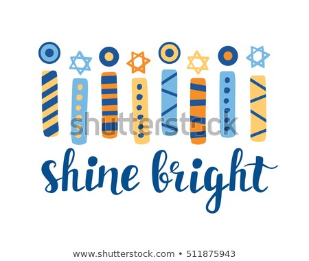 Happy Hanukkah card template with lights on sticks and star symb Stock photo © bluering