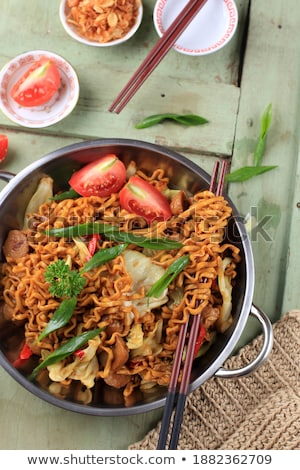 asian cuisine, fried noddle and spicy beef Stock photo © M-studio