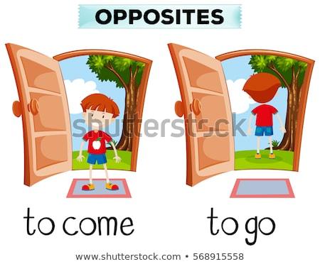Oposto palavras porta fundo educação Foto stock © bluering