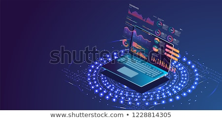 Analiza biznesowa banner izometryczny laptop biznesmen wysoko Zdjęcia stock © Genestro